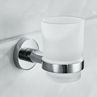 Chrome Toothbrush Tumbler Holder With Glass Cup Bathroom Wall Accessory • 15.85£