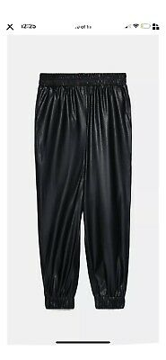 Zara Ss20 Black High Waisted Faux Leather Perforated Jogging Trousers Size M New • 23.99£