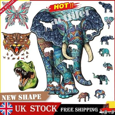 £13.99 • Buy Wooden Jigsaw Puzzle Unique New Animal Shape Jigsaw Pieces Adults Kids Toy Gift