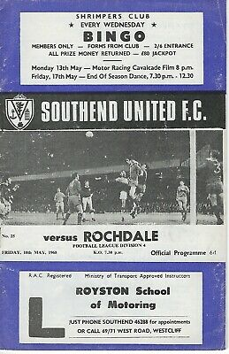 Southend United V Rochdale 10-05-1968  • 0.99£