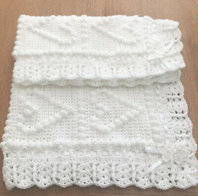 Beautiful Handmade Crochet Baby Blanket. Heart Design With Ribbons & Butterflys. • 14£