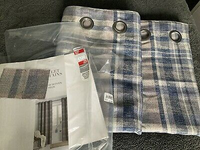 Next Woven Tartan Curtains Brand New Fully Lined (Eyelet)66x72 • 25£