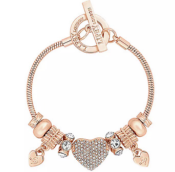 🔥Lipsy Gold Colour Crystal Pave Heart Charm T-Bar Bracelet Fast Delivery 🚚 📦 • 22.99£