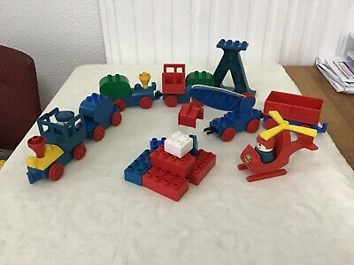 Vintage Lego Duplo Trains,helicopter,figures Steam Sanitised Good Condition.. • 8£