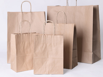 12 Pcs Brown White Kraft Small Large Paper Carrier Bags Hq Gift Bags  • 7.99£