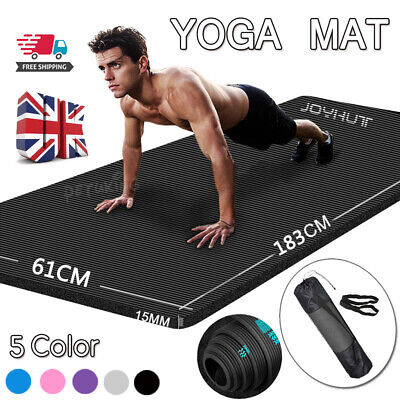 £12.99 • Buy Yoga Mat 15mm Thick Gym Exercise Fitness Pilates Workout Mat Non Slip Large NBR