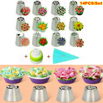 14PCS/Set Russian Stainless Pastry Tips Fondant Cake Decor Icing Piping Nozzles • 7.99£