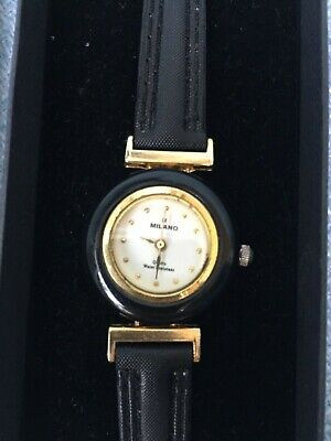 Ladies Milano Watch Milano Black Leather Strap • 4£