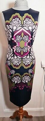Ted Baker...NEW NAVY ZYTA Tapestry DRESS  SIZE 1 Feature ZIP Full Dress Length • 44.99£