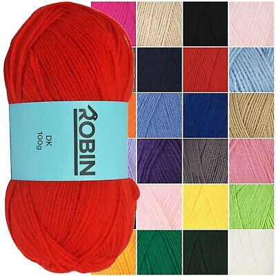 (3 Pack) Robin Double Knit 100g Yarn Knitting Wool DK Crochet Various Colours • 8.45£