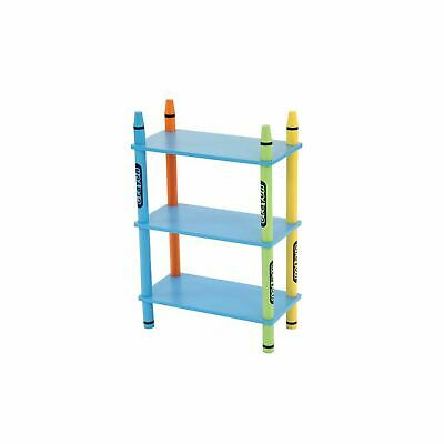 Colourful Childrens Storage Shelf Crayon 3-Tier Free Standing Shelving Unit READ • 17.99£
