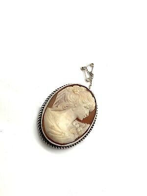 Great Vintage Antique Edwardian 1905 Sterling Silver 925 Cameo Pin Brooch #730 • 1.20£