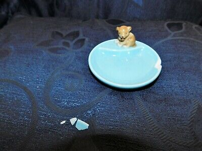 Collectable Wade Pale Blue Porcelain Whimtrays Pin Tray & Lion Cub Whimsy Tlc • 0.99£