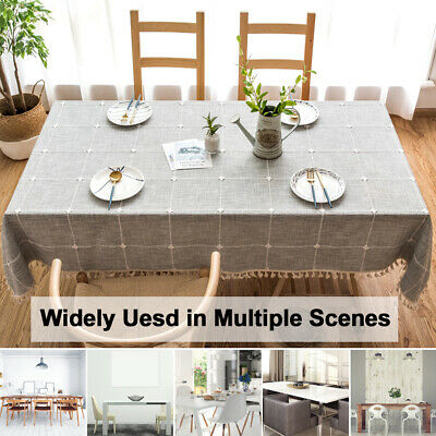 AU41.26 • Buy Dining Room Tassel Tablecloth Table Cover Cloth Home Decoration Cotton Linen AU
