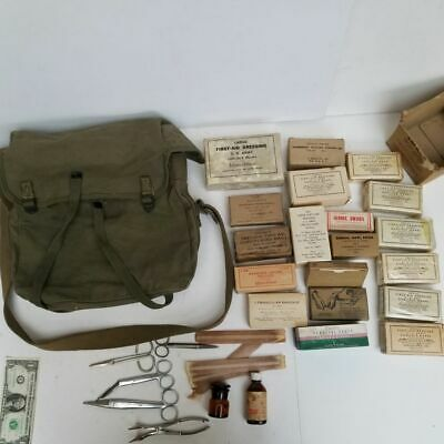 $150.50 • Buy Rare! WW2 USN USMC Combat CORPSMAN UNIT No. 3 MEDICAL 1st AID KIT BAG W/ Content