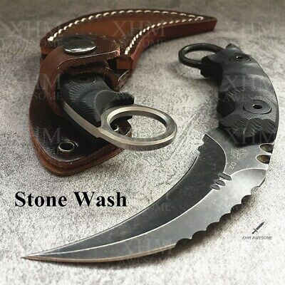 AU59.99 • Buy D2 Tactical Karambit Outdoor Hunting Fixed Blade Knife CSGO Combat Claw Knives
