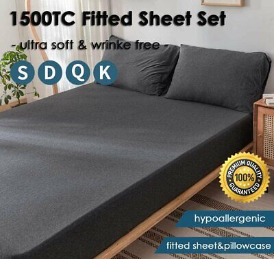 AU27.99 • Buy 1500TC Elastic Fitted Sheet Set Pillowcases Double Queen King Mattress Protector