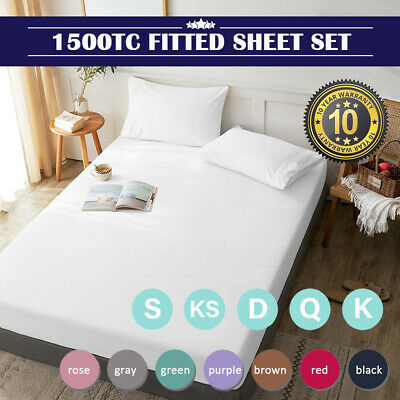 AU25.99 • Buy 1500TC Ultra Soft Deep Fitted Sheet Set Pillowcases Single/Double/Queen/King Bed