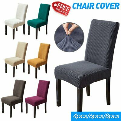 AU21.99 • Buy 4-8PCS Dining Chair Covers Spandex Slip Cover High Stretch Wedding Banquet Party