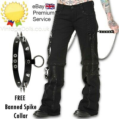 New Banned Apparel Black Chain Gothic Punk Bondage Rock Rockabilly Trousers  • 49.99£