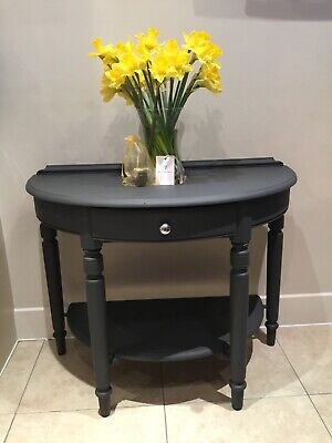 Upcycled Charcoal Grey Wooden Half-moon Table  • 124.95£