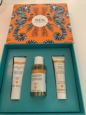 New REN Clean Skincare Radiance Gift Set Incl Face Mask, Tonic And Vit C Cream • 5.50£
