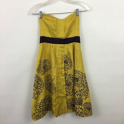 $ CDN25.47 • Buy Anthropologie Floreat Size 0 Strapless Dress Yellow Purple Party Embroidered