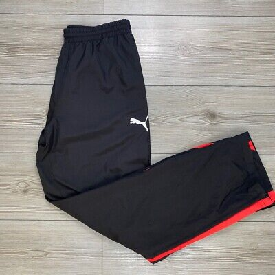 Puma Tracksuit Bottoms. Black With Red Logos. Mens M • 9£