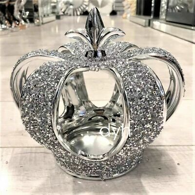 £24.99 • Buy Stunning Silver Crushed Diamond Sparkly Crown King Queen Ornament Shelf Sitter