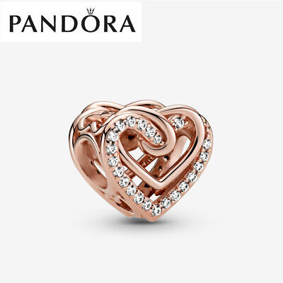 Rose Gold Genuine Silver Pandora Sparkling Entwined Hearts Charm With Gift Box • 13.99£