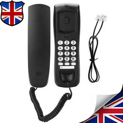 Compact Wired Telephone Wall Mounted Desktop Home Office Corded Phone Landline- • 12.99£