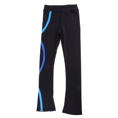 Skating Tights Spiral Striped Pants Figure Skinny Skate Trousers Blue 160 • 27.16£