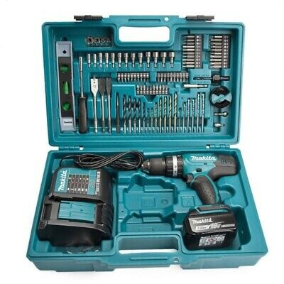 Makita DHP453FX12 Cordless 18V LXT Combi Drill Set With 101PC Accessories And Ca • 149.99£