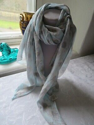 Fine Italian Cotton/silk Scarf With Daisy Print In White & Taupe On Pale Blue • 0.99£