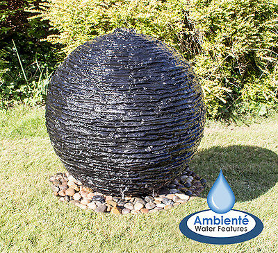£257.99 • Buy Torver Slate Effect Sphere Stone Effect Water Feature Self Contained Lights 50cm