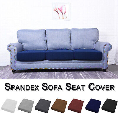 1/2/3/4 Seat Solid Sofa Cushion Covers Stretch Fabric Slipcovers Couch Protector • 9.59£