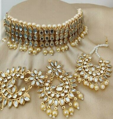 Indian Bollywood Jewellery Set Gold And Pearl With Big Tikka And Earrings • 15£