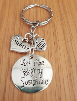 £2.50 • Buy You Are My Sunshine Daughter & I Love You Silver Heart Keyring/Bag/Purse Charms
