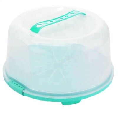 Round Plastic Cake Box Carrier Storage Box Container Clear Lockable Lid 34cm  • 10.95£