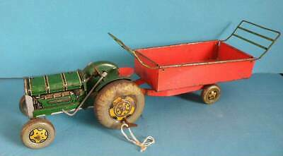 Unboxed Vintage Mettoy Tinplate Model - Clockwork Tractor & Tipping Hay Cart • 4.50£