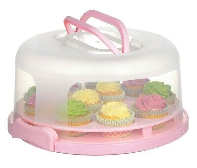 2 In 1 Cupcake Carrier Cake Carrier Holder Portable Cupcake Mufin Container Pink • 12.99£