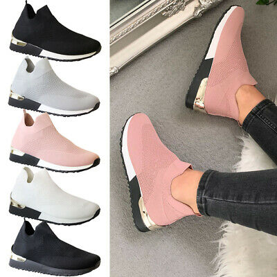 Womens Running Sock Trainers Ladies Mesh Jogging Sport Sneakers Pumps Shoes Size • 14.95£