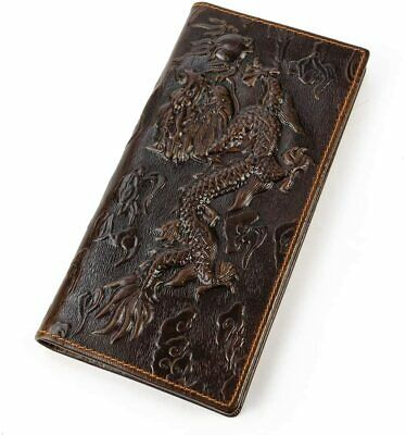 Mens Genuine Leather Travel Long Bifold Wallet With Chain Embossed Dragon  • 34.39£