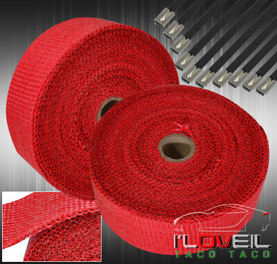 $33.99 • Buy 10M Header Catback Intake Manifold Downpipe Thermal Heat Wrap Protection Kit Red