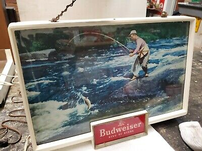 $ CDN108.09 • Buy RARE VINTAGE BUDWEISER KING OF BEERS Trout Fisherman Light Up Sign WORKS!