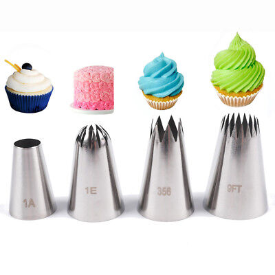 1/4Pcs Large Icing Piping Nozzle Russian Pastry Tips Baking Mold Cake Decoration • 4.52£