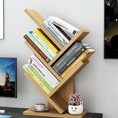 Wooden Bookcase 5 Tiers Tree Storage Stand CD DVD Display Holder Tabletop Racks • 17.98£