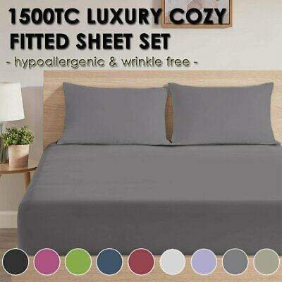 AU29.99 • Buy 1500TC Soft Fitted Sheet Pillowcases Set Single Double Queen King Size Bedding