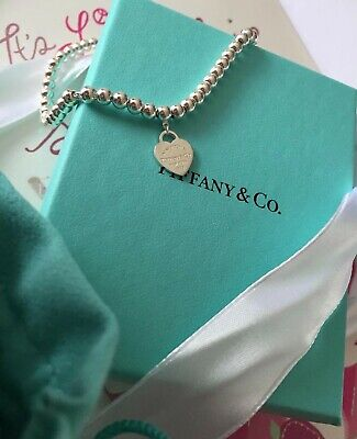 Authentic Return To Tiffany & Co Silver Heart Tag On Mini Bead Bracelet 6.5  • 80£