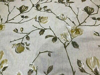 2 Metres Yellow & Green Floral Embroidered Curtain Craft Fabric  • 7.99£